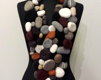 Felted Merino Wool Pebble Scarf: Pebble Beach