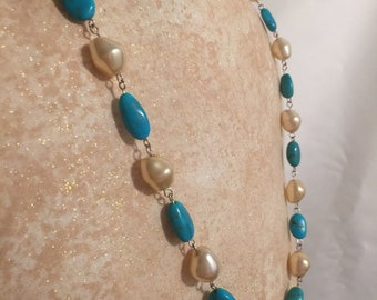 Turquoise and Faux Pearls, Wire Wrapped Necklace