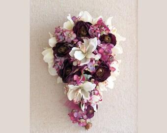 Purple Bridal Bouquet Cream Orchids Red Violet Cascading Bouquet