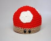 Crochet Mushroom Hat / Red Super Mushroom Hat / Inspired by Super Mario / Custom Crochet Beanie / Sizes Newborn Baby Kids Toddler to Adult