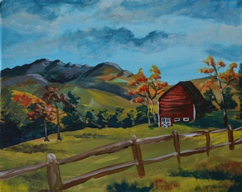 Was 50, now only 25! Original acrylic painting of barn