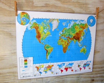 Large Vintge Laminated World Map