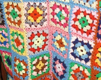 Vintage Crocheted Small Afghan. Soft Throw or Baby Blanket :25x34 inches