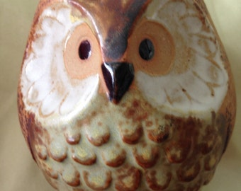Pottery Owl Vase Absolutely Adorable and Perfect in Every Way 3.5 Inches Tall  Approx 3.25 Inches in Diameter Perfect Gift for Owl Collector
