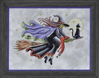 CRUSIN' - Halloween Counted Cross Stitch Pattern witch broom black cat moon cross stitch needlework pattern chart - witch cross stitch