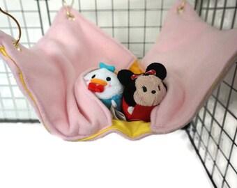 Pink and yellow Rat hammock,  pocket hammock, ferret, fleece cage accessories, pet sleeping bag, wire cage accessories, rat bed