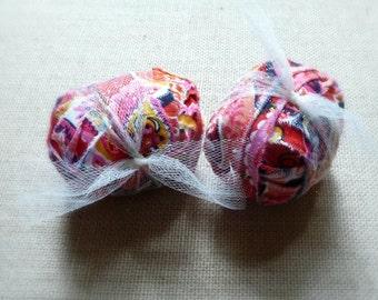Citrus Floral Scented Drawer Sachet, Car Air Freshener, Home Fragrance Ball, Pink Fabric Sachet