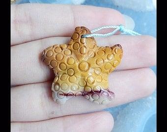 Carved  Starfish Mookite Jasper Gemstone Pendant Bead,29x6mm,6.10g