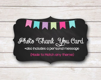 Photo Thank You Card. Made to Match. Party Printable
