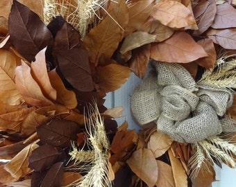 Autumn Gold Wreath   Harvest Gold Fall Wreath   Wheat Wreath   Preserved Gold Salal Wreath  Autumn Home Decor  Front Door Wreath