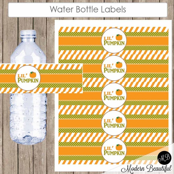pumpkin water bottle labels fall baby shower water bottle With fall water bottle labels