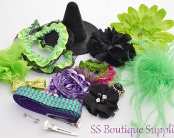 """Neon Green DIY 4"""" Witch Hat and Headband Kit"""