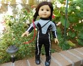 Girl Power costume black and silver training outfit for 18 inch doll like American Girl hand made