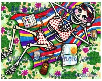 "Me Time"" - Art by Karina Gomez - Print on Fade Free Paper 8.5""x11"" or 11""x17"" Dia de los Muertos - Sugar Skull"