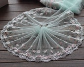 2 Yards Lace Trim Floral Embroidered Cyan Tulle Lace Trim 7.48 Inches Wide High Quality