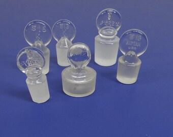 Vintage Glass Chemistry Stoppers, Vintage Glass Stoppers, Apothecary Glass Stoppers-Set of 6