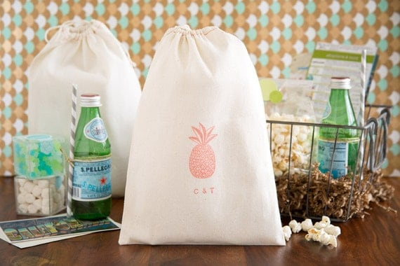 25 Out Of The Box Ideas For Your Destination Wedding: Pineapple Wedding Welcome Bag Tropical Wedding Favors
