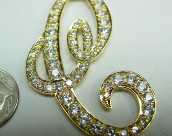 """diamond initial 2"""" size  goldplated sterling silver  ,"""