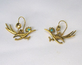 Vintage J. Ritter Roadrunner Earrings Pierced Wires Antiqued Gold Tone