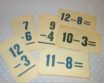 Large Vintage Flashcards Subtraction Math - Lot of 80+ cards All to GO - 6-3/8 inches long