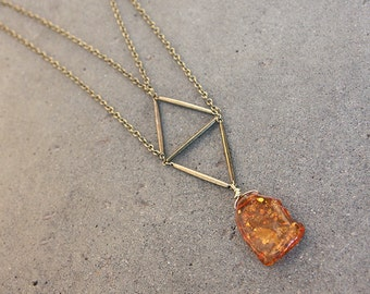 Double Chain Geometric Amber Pendant in Brass