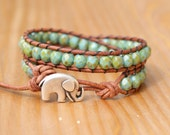 Picasso Turquoise leather wrap bracelet, green, blue, Good Luck charm, silver elephant, bohemian trendy jewelry, hipster, gift idea