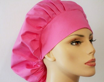 Bouffant Surgical Scrub Hat - Pink Solid Kona 100% Cotton Matching Headband Breast Cancer Awareness