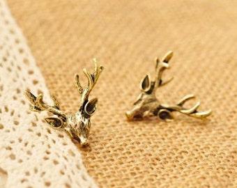 FREE SHIPPING, Deer Earrings, Hunting Earrings, Bronze Earrings, Gold Earrings, Antler Earrings, Fantasy, Pierced Ears, Woman's GIft