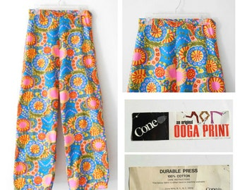 "Psychedelic Floral Print Pants - New With Tags - Cone Mills - High Waisted Floral Pants - Vintage 60s Womens 24"" Waist Size Small S Sz 0"