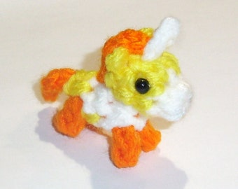 Halloween Candy Corn Edition Mini Unicorn Crochet Plushie - 2 inch Stuffed Pony Toy - Special Candycorn Limited Color, Made to Order