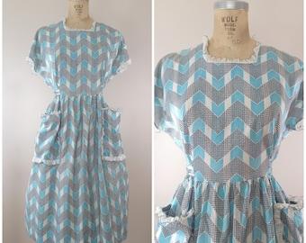 1940s Dress / Teal Chevron Dress / Vintage 40s Day Dress / Cotton 40s Dress / Large