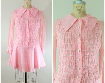 Vintage 1970s Dress / Pink Mini Dress / Long Sleeves / Small Medium