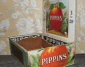 Pippins Box. 1909 Vintage Cigar Box. Keepsake Vintage Illustration. Colored Label.