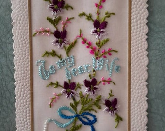 40s Postcard Embroidery Art Love Note on Etsy