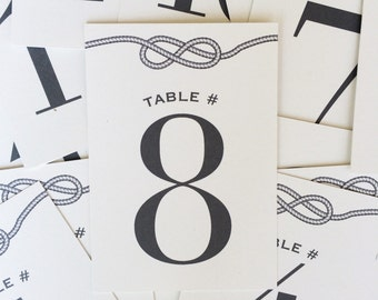 Nautical Knot Wedding Table Numbers