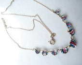 Art Deco Necklace Iris or Rainbow Glass Rhinestones Sterling 1920's 1930's
