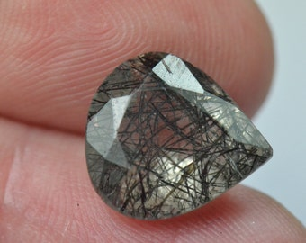13.3mm Black RUTILE or  TOURMALATED QUARTZ 5.50ct 13.3 by 12 by 7.2mm