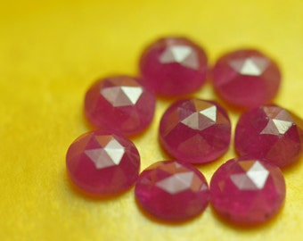 5mm Red Ruby rose cut gemstone approx weight 0.60 to 0.80ct 5 by 5 by 2.25 to 3mm approx