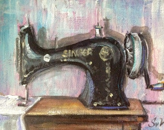 Singer sewing  machine painting original art 5 x 7""