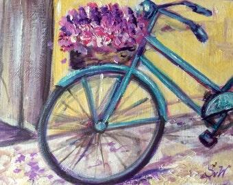 "Blue bicycle Painting original art 5 x 7"""