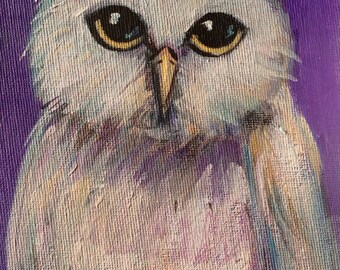 Owl Painting bird painting original art 5 x 7