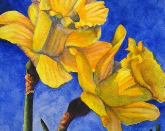 Flower Painting, Daffodil Painting Flower Wall Art Flower Watercolor Daffodil Watercolor Flower Home Decor Original Painting Yellow Daffodil