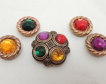Vintage Button Covers Purple Green Yellow and Red