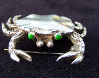 Vintage Sterling Silver Crab Pin, Brooch, Lapel Pin, Bent Spoon Jewelry, Sweater Pin