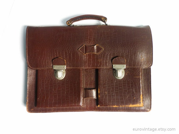 Vintage Brown Leather Briefcase / Vintage Document Case / Laptop Bag / Portfolio Bag