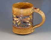 Coffee Mug With Mosaic Patterns, Dragonflies, Textured Handle, Thumb Rest, Multiple Colors, Ready To Ship