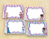 Doc McStuffins Party Food Labels, Instant Download, Doc McStuffins birthday. table tents, place cards, name tags