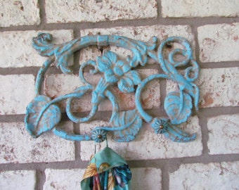 Vintage Cast Iron with Knobs Scroll Design for Hanging/Coastal Blue