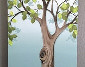 Painting, blue and green tree, 20x30 Textured Wall Art, Large Acrylic Painting on Canvas