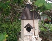 Beachy Birdhouse-Bird House-Rustic Birdhouse-Beach Wedding Decoration-Tree House-Primitive Birdhouse-Annie Gray-Shell Birdhouse-Starfish
